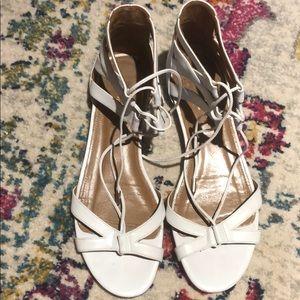 Aquazzura White Flat Sandals - Ankle Ties
